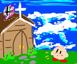 kirby finds smash ball on top of church