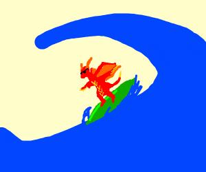 dragon enjoying the waves