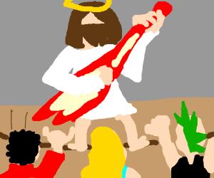 Jesus rocking out!