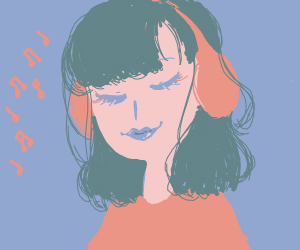 Anime girl jamming out to music in headphones