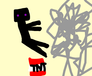 enderman is blown up by a tnt explosion