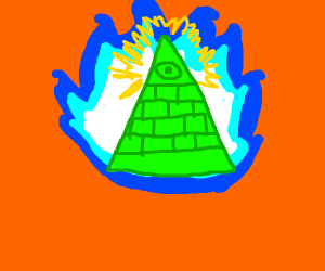 Illuminati pyramid with blue fire