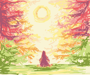 Girl watches sunset in forrest