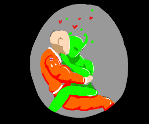 Astronaut and alien make out