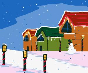 Snowman in a cute colorful town.