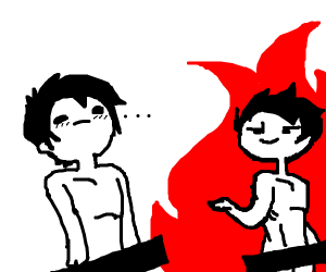 two naked people one is on fire