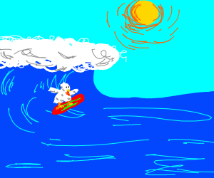 A naked chicken surfing