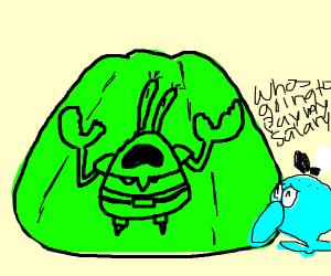 Mr. Krabs trapped in green Jello