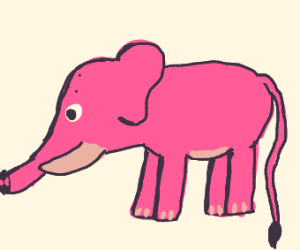 Elephant with 2 dots on head and long tail