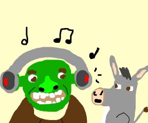 shrek listening to skrillex with donkey