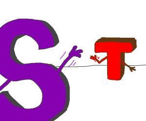 S says hi to T