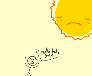 Man really, REALLY htes the sun
