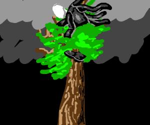Six-armed Slenderman hiding in a tree.