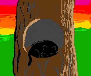 black cat sleeping on a tree