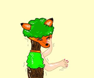 Girl is hybrid human fox tree creature