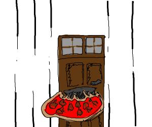 a door fires a pizza