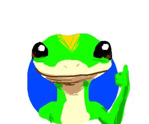 Geico gecko gives u a thumbs up