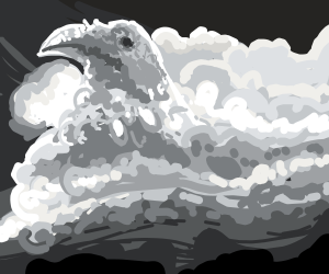 cloud in the shape of raven