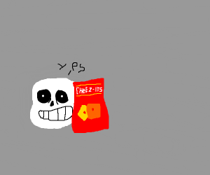 Sans says yes behind a bag of cheezits