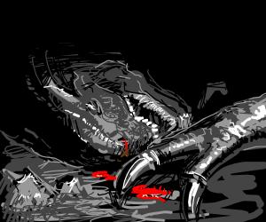 grey dragon in a dark cave bleeding out