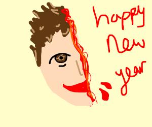 Head cut in half saying happy new year