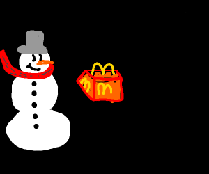 snowman enjoying a happy meal