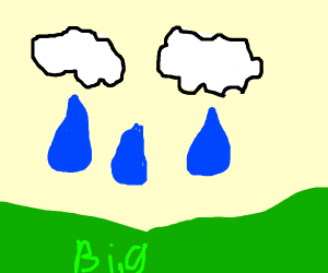 raining giant raindrops