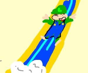 Luigi Going Down A Water Slide