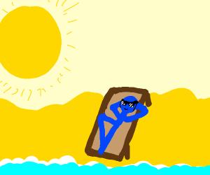 Blue man sunbathing
