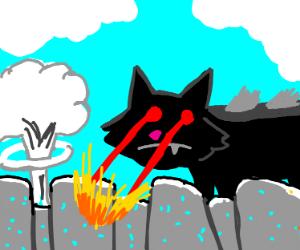 Black cat kaiju destroys city in a matter of