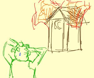 Shrek's hut is on fire