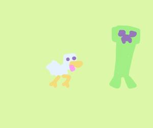 minecraft chicken racing a creeper