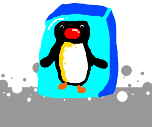 Pingu stuck in ice