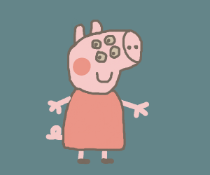 Creepy peppa pig with extra set of eyes