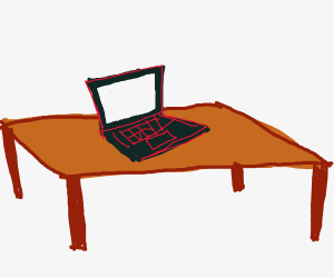Desk with a square computer