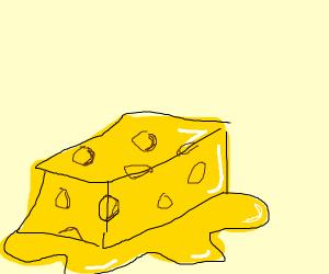 Melting cheese block