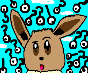 Eevee surrounded by question marks