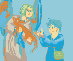 Angel saves an elderly woman's dog