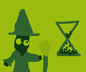 green witch next to an hourglass