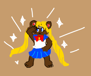 Bear possing like a cool anime character