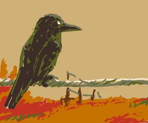 Crow looks over barren wasteland