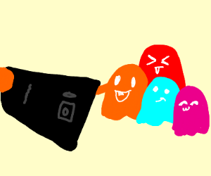 Pac man ghosts take a cute selfie