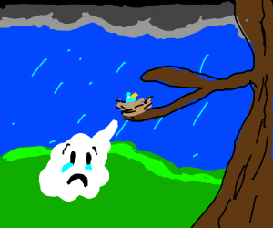 baby blue bird is sad that its raining