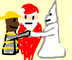 officiant santa is marrying fire man and kkk
