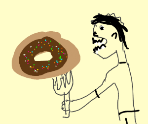 Person uses a fork to eat a doughnut