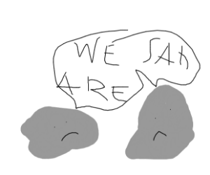 2 rocks are sad in open air