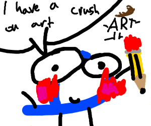 Blushing drawception D looking at art