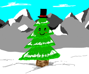 A pine tree with a smiling face and a tophat