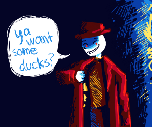 creepy guy offers ducks