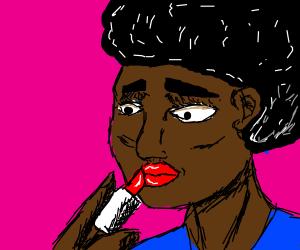 black girl puts on lipstick